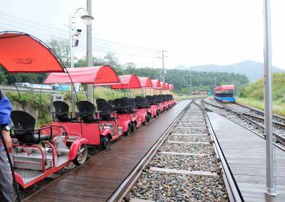 Rows of rail bikes